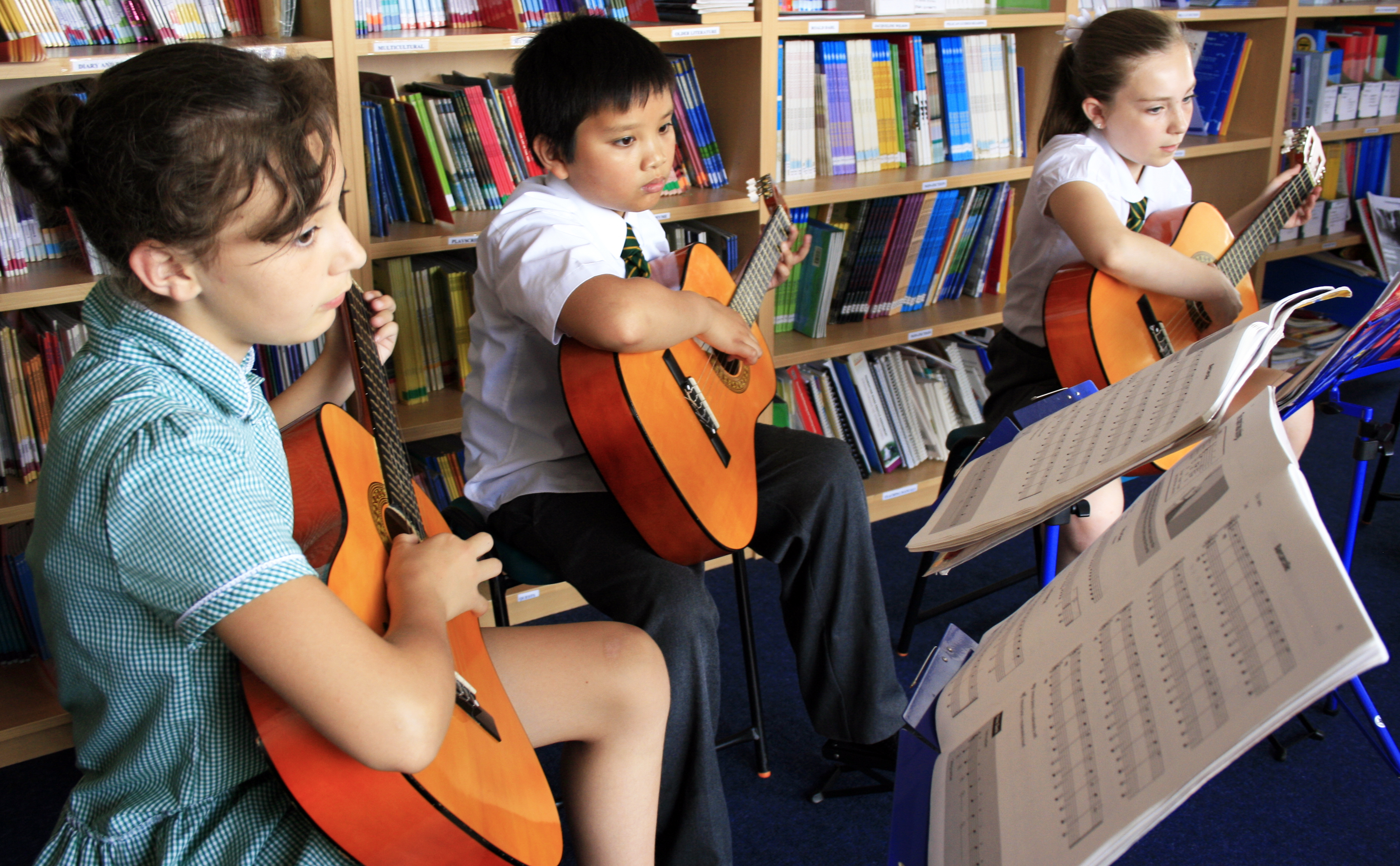 Pupils in music class