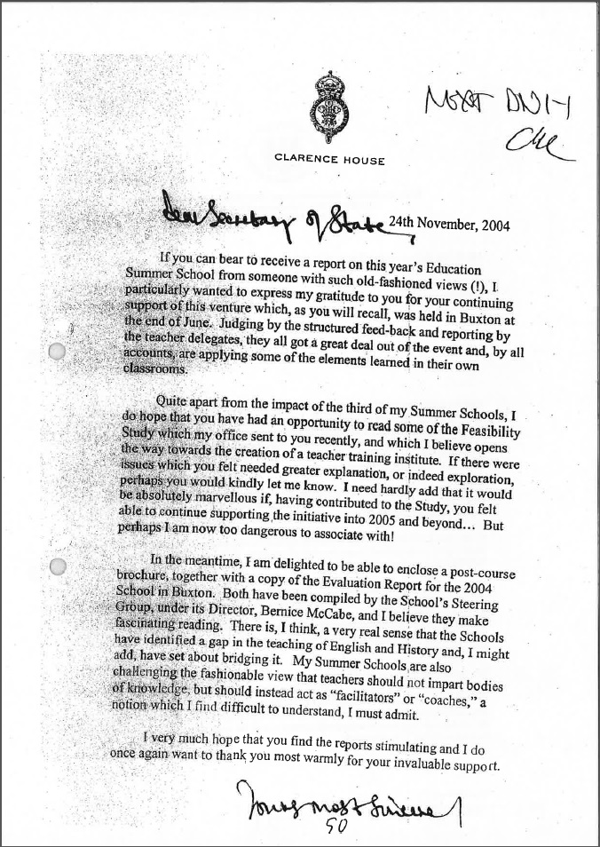 Prince Charles education memo