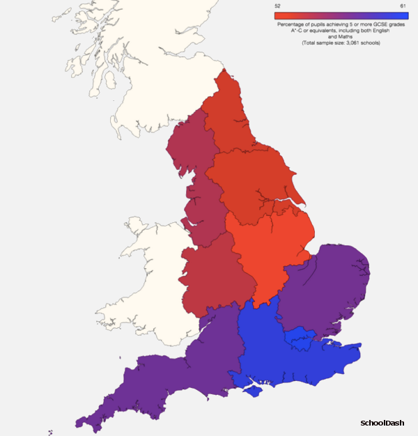 map of GCSE attainment