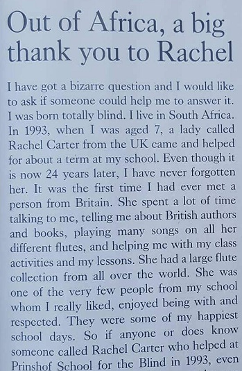 pupil, teacher, reunion, prinshof school for partially sighted and blind, south africa, pretoria, shanghai, tes, letter, heartwarming
