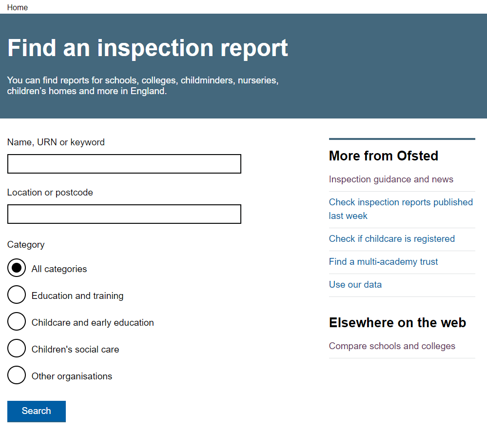 Ofsted inspection reports site