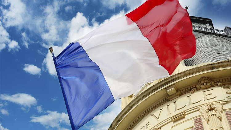 french flag flying for bastille day