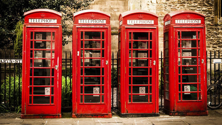 Red telephone boxes symbolising the different aspects of British values