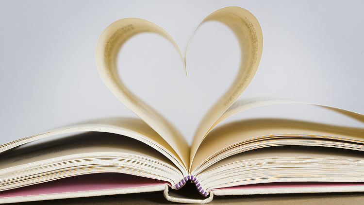 Anthology with folded pages in the shape of a heart, World Poetry Day resources