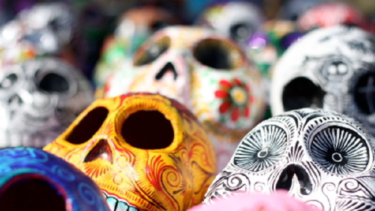 Decorated calavera celebrating Day of the Dead, Halloween and All saint's Day in October
