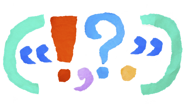 Brackets, speech marks, exclamation mark and question mark to illustrate punctuation for primary school