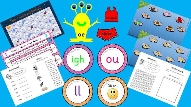 phonics lesson resources on table