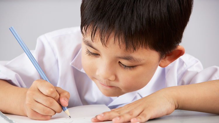 Young child writing to demonstrate comprehension tasks within primary English lessons