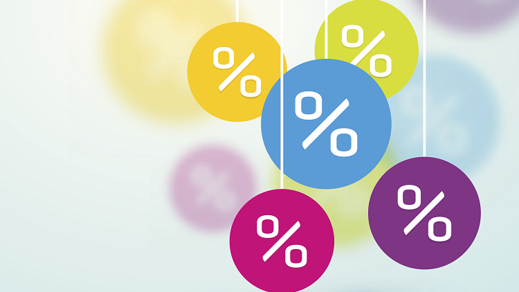 Multiple percentage signs to illustrate percentages lessons for primary maths classrooms