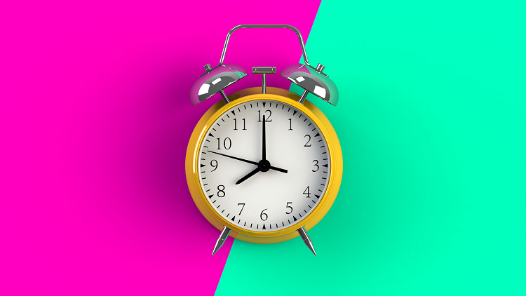 Brightly coloured alarm clock to represent KS1 and KS2 primary maths lessons on the topic of time
