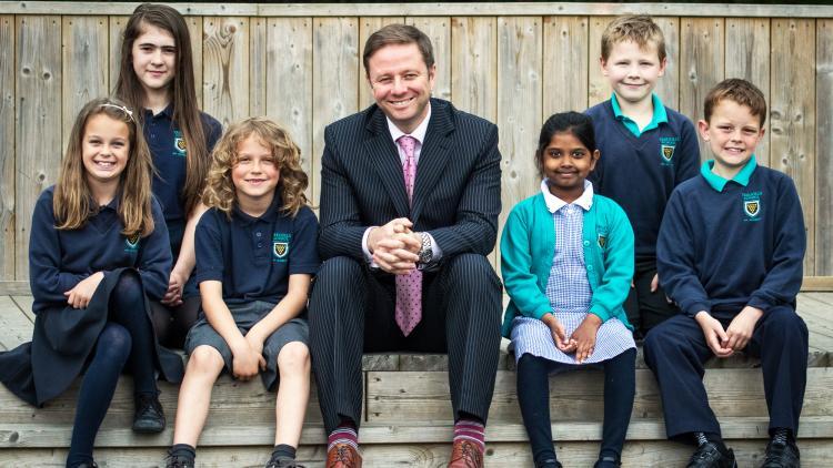 Tregolls School with headteacher Matt Middlemore and pupils
