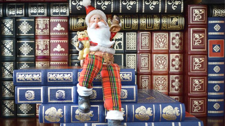 Santa on book