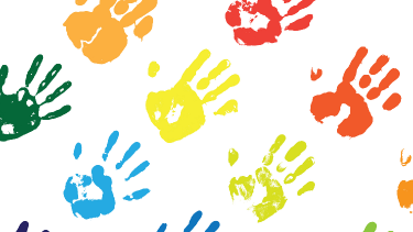 Young children's multi-coloured hand prints