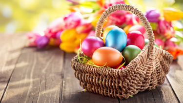 Easter basket with Easter eggs inside, activities for primary pupils