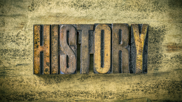 Old-fashioned lettering of history as part of introducing KS3, KS4 and post-16 students to new historical periods