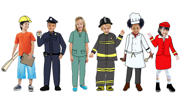 EYFS children dressed as policeman, nurses and firefighters to show people who help us