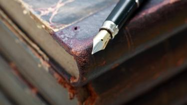 Poetry book resource for secondary students with a fountain pen