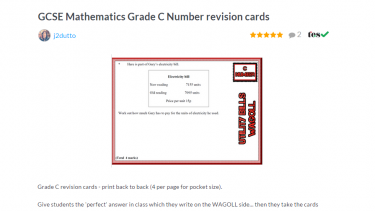 TES Maths ROTW GCSE revision cards