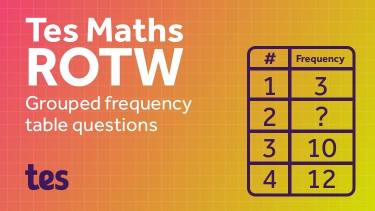 Image representing Tes Maths ROTW: Grouped frequency table questions