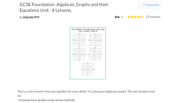 Tes maths,maths resources,maths,secondary maths,ks4,gcse foundation,graphs algebraic graphs