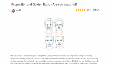 TES Maths ROTW Proportion and golden ratio