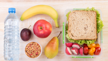 School packed lunch full of healthy food, fruit and vegetables