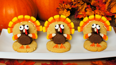 Sweet turkey-shaped treats as part of teaching thanksgiving to elementary pupils