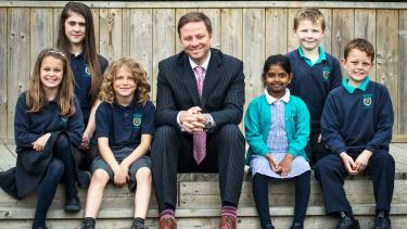 Tregolls School with headteacher Matt Middlemore and pupils
