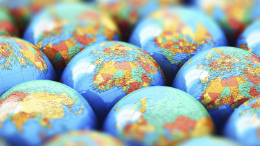 Multiple globes to demonstrate unearthing new geography topics with KS3, KS4 and post-16 students