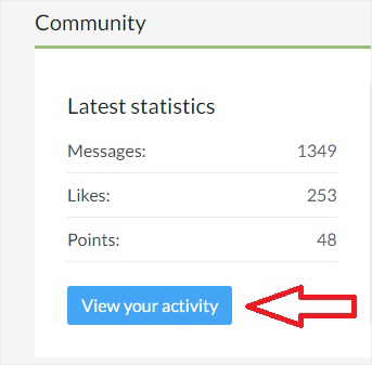 View your activity button