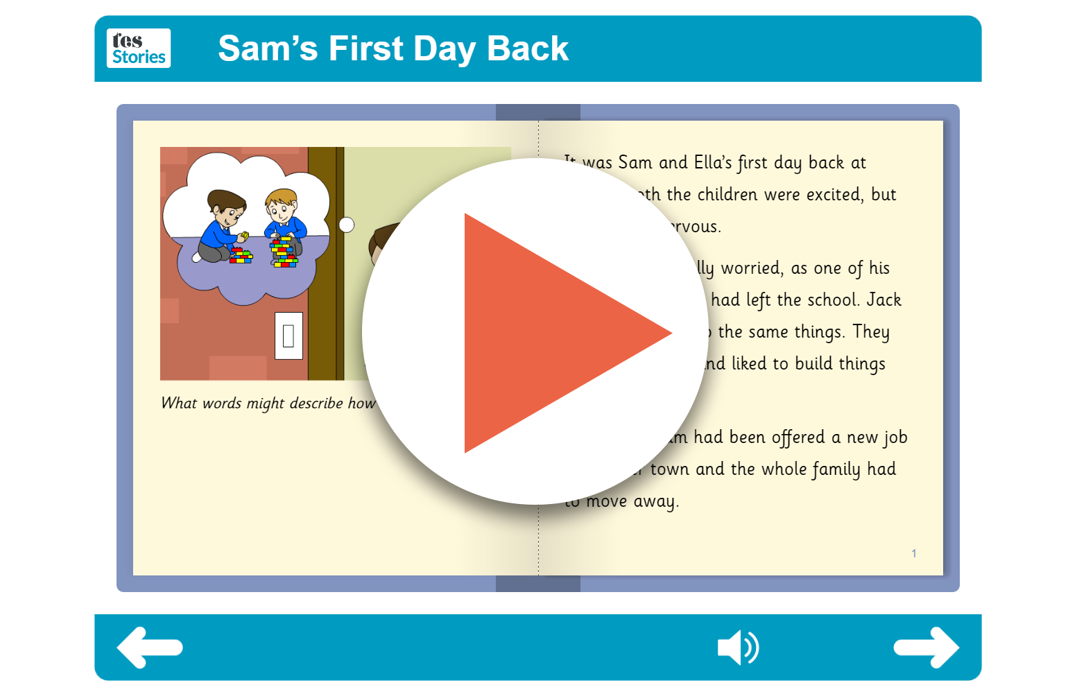 Sam's First Day Back Independent Reader (interactive)