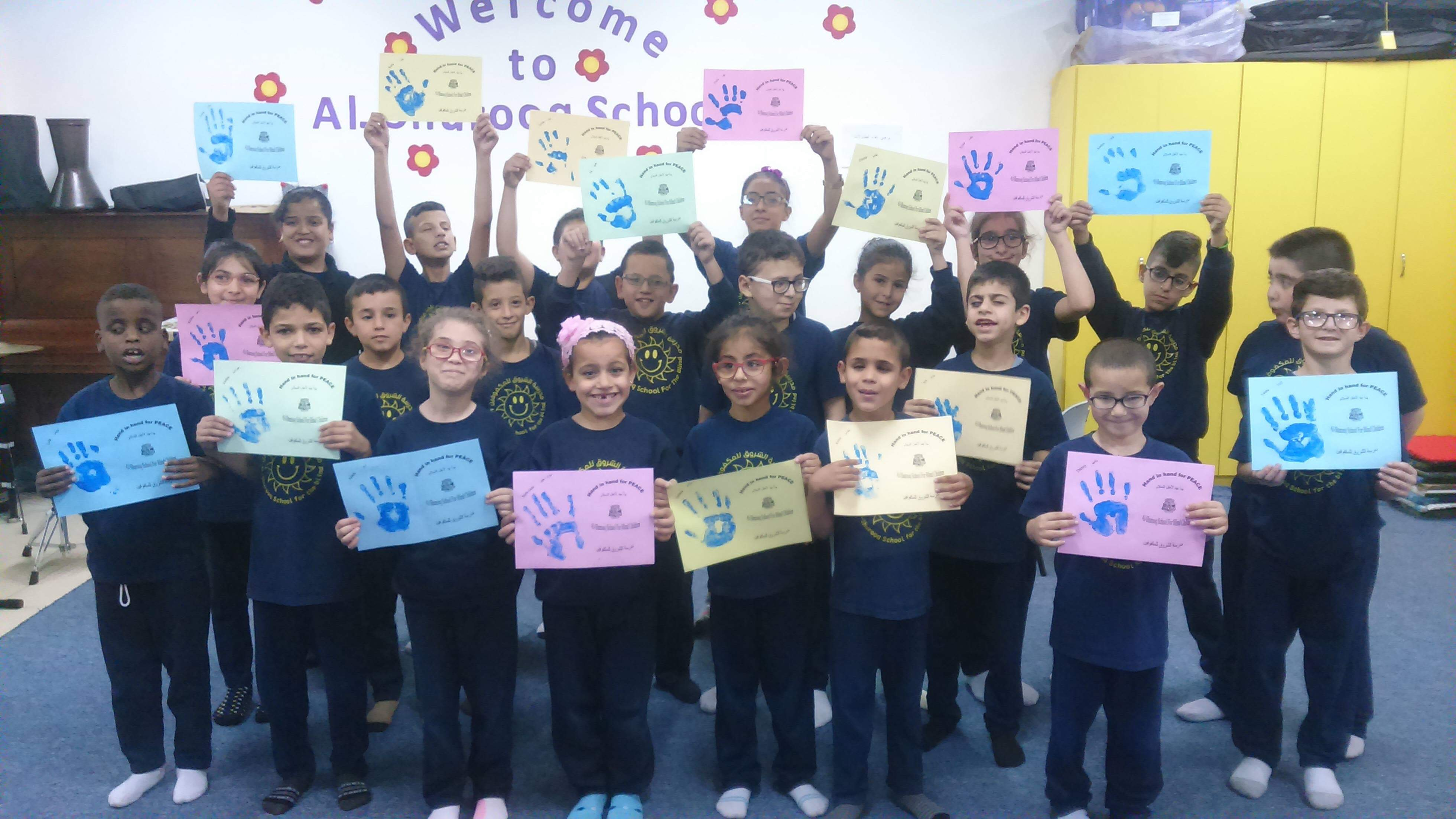 Al Shurooq pupils with peace cards to send to Lockerbie