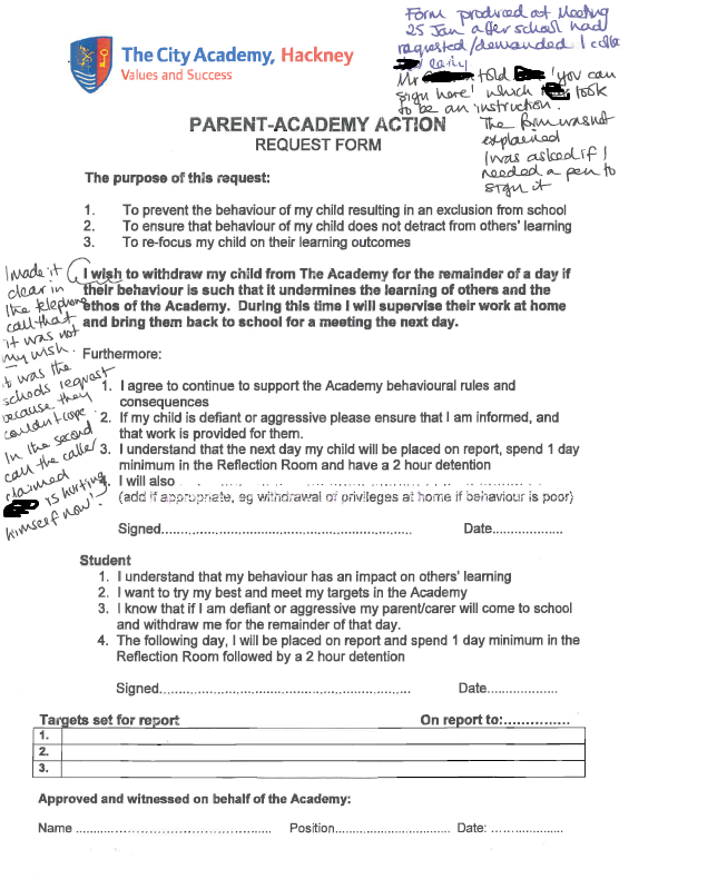 Parent voluntary withdrawal form from The City Academy