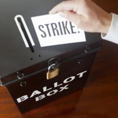 "Ballot box, with paper marked ""strike"""