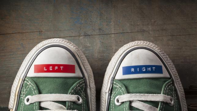 "Shoes, with labels on reading ""left"" and ""right"""