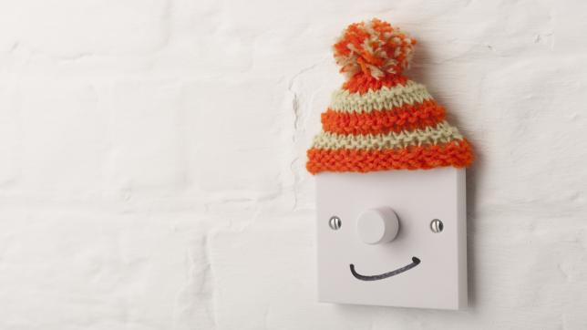 Light switch as face, wearing bobble hat