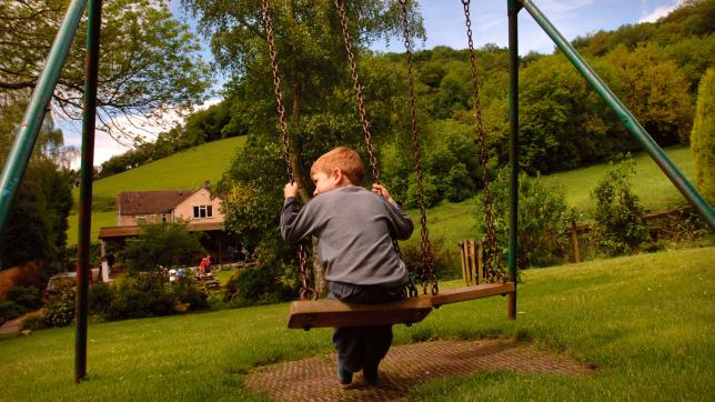 Child on swing alone