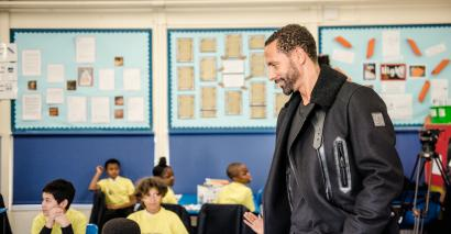 Rio Ferdinand, the former England and Manchester United footballer, on a school visit