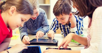 Children using technology in history class
