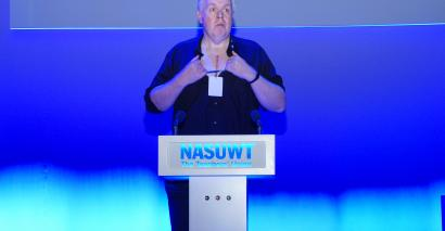 Neil Jeffrey at the NASUWT conference. Photo Simon Boothe