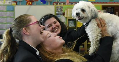 The school where a dog helps pupils through their exams