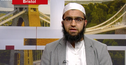 Abdullah Patel pictured at the BBC studio questioning Tory Party leadership hopefuls.