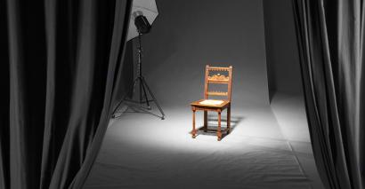 Empty chair, in spotlight
