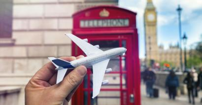 Toy plane and London phone box