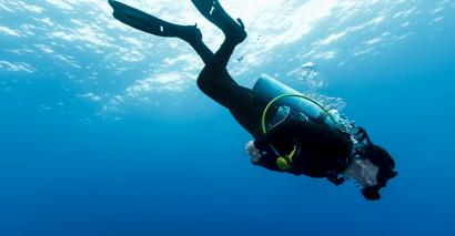 Scuba diver descends into sea