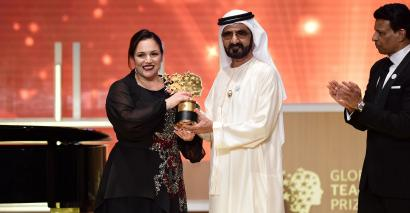 Andria Zafirakou wins the Global Teacher Prize last year