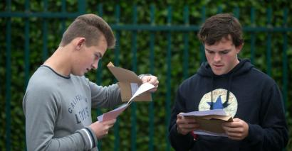 Students collecting GCSE results