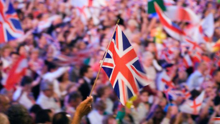 Union Jack waving, at the Last Night of the Proms