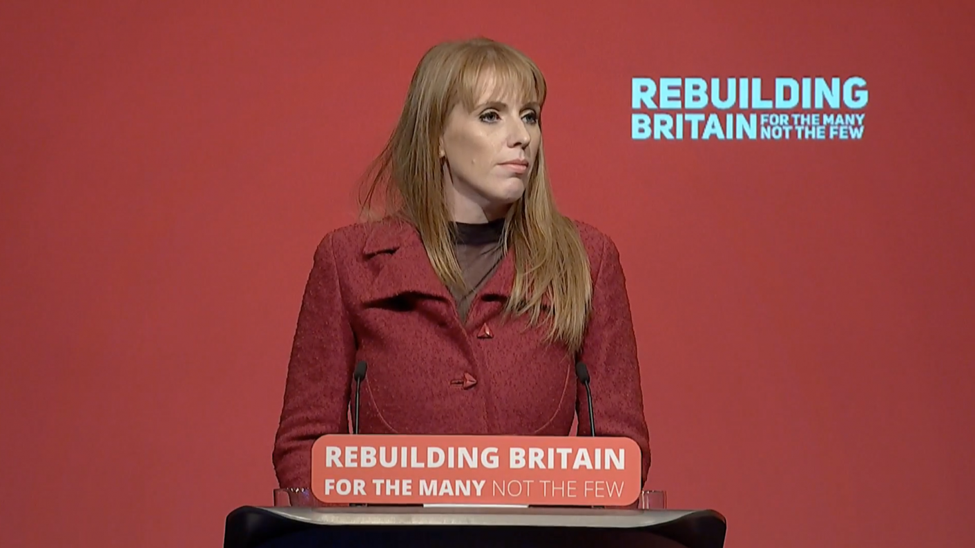 Shadow education secretary Angela Rayner speaking to the Labour Party conference 2018