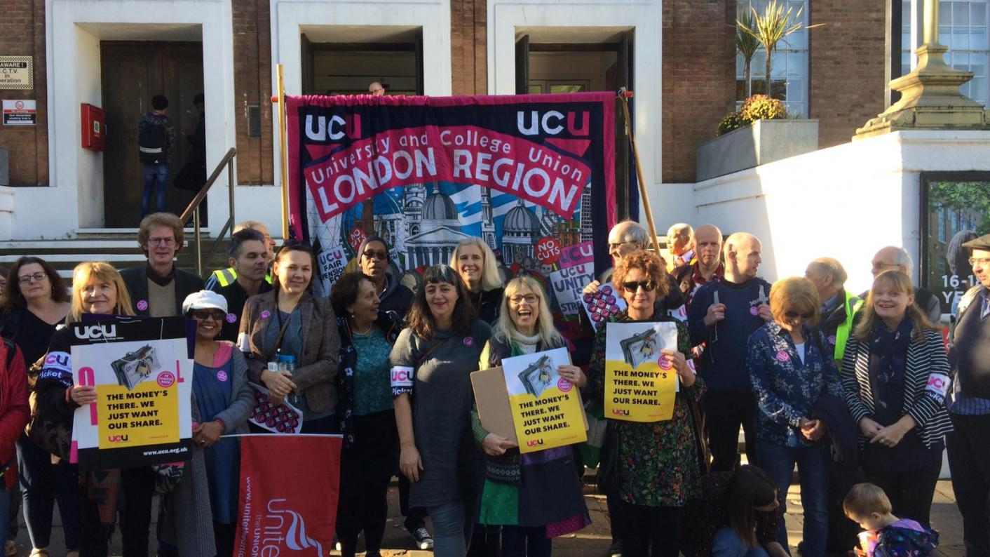 Staff on the picket line at Lewisham Southwark College